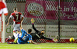 Dougie Imrie pulls a goal back for Hamilton as he shoots past Wes Foderingham