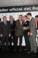 Real Madrid coach Jose Mourinho (c) and the President Florentino Perez participate and receive new Audi during the presentation of Real Madrid's new cars made by Audi at the Jarama racetrack on November 8, 2012 in Madrid, Spain.(ALTERPHOTOS/Harry S. Stamper) .<br />