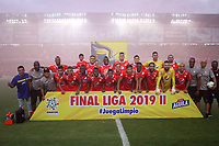 CALI-COLOMBIA , 07-12-2019.Formación  del América de  Cali ante el Atlético Junior durante partido por la final de la Liga Águila II 2019 jugado en el estadio Pascual Guerrero de la ciudad de Cali./ Team of America de Cali   agaisnt of Atletico Junior during the final match for the Aguila League II 2019 played at Pascual Guerrero stadium in Cali city. Photo: VizzorImage/ Felipe Caicedo / Staff
