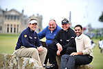 Pic Kenny Smith............. 02/10/2009.Dunhill Links Champioship, St Andrews  Links, L to R Lee Westwood, Andrew Chandler,  Darren Clarke and Abdullah Al Naboodah pose on the Swilken Bridge as they finish their round
