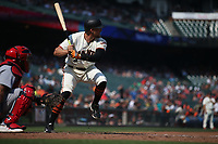 SAN FRANCISCO, CA - SEPTEMBER 2:  Hunter Pence #8 of the San Francisco Giants bats against the St. Louis Cardinals during the game at AT&T Park on Saturday, September 2, 2017 in San Francisco, California. (Photo by Brad Mangin)