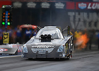 Jun 18, 2016; Bristol, TN, USA; NHRA funny car driver Jim Campbell during qualifying for the Thunder Valley Nationals at Bristol Dragway. Mandatory Credit: Mark J. Rebilas-USA TODAY Sports