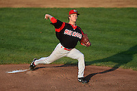 Batavia Muckdogs pitcher Steven Farnworth (31) delivers a pitch during a game against the Tri-City ValleyCats on August 2, 2014 at Joseph L. Bruno Stadium in Troy, New York.  Tri-City defeated Batavia 8-4.  (Mike Janes/Four Seam Images)