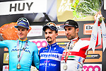 Julian Alaphilippe (FRA) Deceuninck-Quick Step wins the 83rd edition of La Fl&egrave;che Wallonne 2019, with Jakob Fuglsang (DEN) Astana Pro Team 2nd and Diego Ulissi (ITA) UAE Team Emirates 3rd place, running 195km from Ans to Huy, Belgium. 24th April 2019<br /> Picture: ASO/Gautier Demouveaux | Cyclefile<br /> All photos usage must carry mandatory copyright credit (&copy; Cyclefile | ASO/Gautier Demouveaux)
