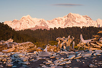 Driftwood on Gillespies Beach and sunset over two highest NZ mountains Mt. Tasman 3497m and Aoraki Mt. Cook 3724m, Westland Tai Poutini National Park, South Westland, UNESCO World Heritage Area, New Zealand, NZ
