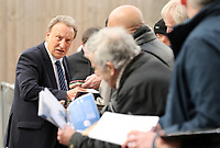 Cardiff City manager Neil Warnock stops to sign autographs for waiting fans as he arrives ahead of kick-off at Turf Moor<br /> <br /> Photographer Rich Linley/CameraSport<br /> <br /> The Premier League - Saturday 13th April 2019 - Burnley v Cardiff City - Turf Moor - Burnley<br /> <br /> World Copyright © 2019 CameraSport. All rights reserved. 43 Linden Ave. Countesthorpe. Leicester. England. LE8 5PG - Tel: +44 (0) 116 277 4147 - admin@camerasport.com - www.camerasport.com