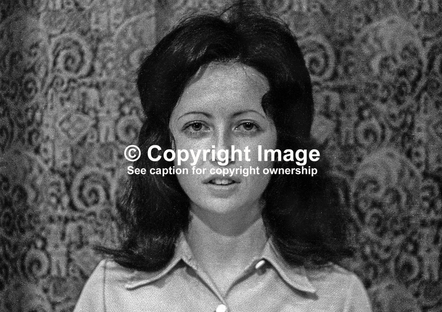 Shiela Carson, secretary, SDLP, Social Democratic &amp; Labour Party, N Ireland, 1971, 197100000465<br /> <br /> Copyright Image from Victor Patterson,<br /> 54 Dorchester Park, <br /> Belfast, UK, BT9 6RJ<br /> <br /> t1: +44 28 9066 1296 (from Rep of Ireland 048 9066 1296)<br /> t2: +44 28 9002 2446 (from Rep of Ireland 048 9002 2446)<br /> <br /> m: +44 7802 353836<br /> <br /> e: victorpatterson@me.com<br /> www.victorpatterson.com<br /> <br /> Please see my Terms and Conditions of Use at www.victorpatterson.com. It is IMPORTANT that you familiarise yourself with them.<br /> <br /> Images used on the Internet must be visibly watermarked i.e. &copy; Victor Patterson<br /> within the body of the image and copyright metadata must not be deleted. Images <br /> used on the Internet have a size restriction of 4kbs and will be chargeable at current<br />  NUJ rates unless agreed otherwise.<br /> <br /> This image is only available for the use of the download recipient i.e. television station, newspaper, magazine, book publisher, etc, and must not be passed on to any third <br /> party. It is also downloaded on condition that each and every usage is notified within 7 days to victorpatterson@me.com<br /> <br /> The right of Victor Patterson to be identified as the author is asserted in accordance with The Copyright Designs And Patents Act (1988). All moral rights are asserted.