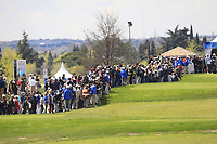 A large crowd around the 1st tee  to see Jon Rahm (ESP) during Round 3 of the Open de Espana 2018 at Centro Nacional de Golf on Saturday 14th April 2018.<br /> Picture:  Thos Caffrey / www.golffile.ie<br /> <br /> All photo usage must carry mandatory copyright credit (&copy; Golffile | Thos Caffrey)