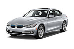 2017 BMW 3-Series 330e-iPerformance 4 Door Sedan Angular Front stock photos of front three quarter view