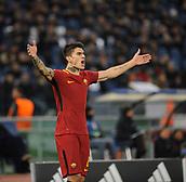 5th December 2017, Stadio Olimpic, Rome, Italy; UEFA Champions league football, AS Roma versus Qarabağ FK; Diego Perotti celebrates his goal