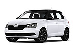 Stock pictures of low aggressive front three quarter view of 2018 Skoda Fabia Ambition 5 Door Hatchback Low Aggressive