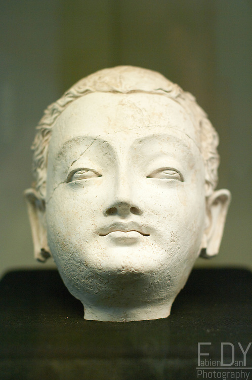 Head of Boddhisatva, excavated from Tepe Naring (Afghanistan), excavated in 2006 and dated 5th-7th century AD