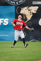 Carolina Mudcats right fielder Keith Curcio (9) tracks a fly ball during a game against the Frederick Keys on June 4, 2016 at Nymeo Field at Harry Grove Stadium in Frederick, Maryland.  Frederick defeated Carolina 5-4 in eleven innings.  (Mike Janes/Four Seam Images)