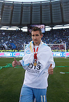 Calcio, finale di Coppa Italia: Roma vs Lazio. Roma, stadio Olimpico, 26 maggio 2013..Lazio forward Miroslav Klose, of Germany, celebrates at the end of the Italian Cup football final match between AS Roma and Lazio at Rome's Olympic stadium, 26 May 2013. Lazio won 1-0..UPDATE IMAGES PRESS/Isabella Bonotto....