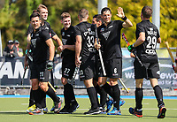 Blacksticks men celebrate a goal during the Olympic Qualifying Hockey match between the Blacksticks Men and Korea, TET Multisport Centre, Stratford, New Zealand. Sunday 3 November 2019. Photo: Simon Watts/www.bwmedia.co.nz/HockeyNZ