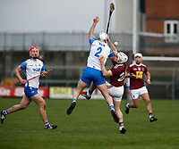 2nd February 2020; TEG Cusack Park, Mullingar, Westmeath, Ireland; Allianz Division 1 Hurling, Westmeath versus Waterford; Shane Fives (Waterford) and Allan Devine (Westmeath) challenge for the ball