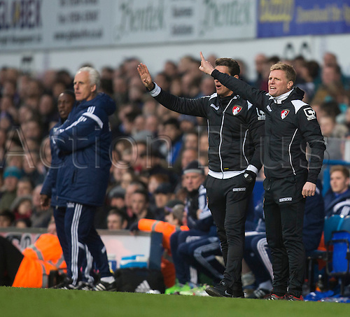 03.04.2015.  Ipswich, England. Skybet Championship. Ipswich Town versus AFC Bournemouth. Eddie Howe, the Bournemouth manager is animated on the touchline.