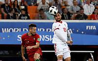 SARANSK - RUSIA, 25-06-2018: Alireza JAHANBAKHSH (Der) jugador de RI de Irán disputa el balón con Raphael GUERREIRO (Izq) jugador de Portugal durante partido de la primera fase, Grupo B, por la Copa Mundial de la FIFA Rusia 2018 jugado en el estadio Mordovia Arena en Saransk, Rusia. / Alireza JAHANBAKHSH (R) player of IR Iran fights the ball with Raphael GUERREIRO (L) player of Portugal during match of the first phase, Group B, for the FIFA World Cup Russia 2018 played at Mordovia Arena stadium in Saransk, Russia. Photo: VizzorImage / Julian Medina / Cont