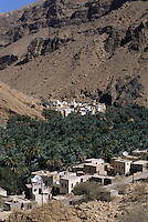 Wadi Tiwi, Oman, Arabian Peninsula, Middle East - Mountain village.  Satellite dishes link this village to a global communications network.  Date palms benefit from an irrigation system channeling water from mountain springs into this narrow mountain valley.  The mountain wall behind the village illustrates the arid climate and barren terrain where water does not reach.