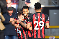 Joshua King of AFC Bournemouth middle celebrates his goal with Ryan Fraser of AFC Bournemouth and Dominic Solanke of AFC Bournemouth during AFC Bournemouth vs Wolverhampton Wanderers, Premier League Football at the Vitality Stadium on 23rd February 2019