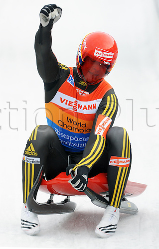 Germany's Felix Loch starts at the 3rd Luge World Cup in Altenberg, Germany, 05 December 2009. Photo: RALF HIRSCHBERGER/Actionplus - UK Editorial Use