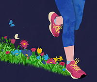 Runner on flower meadow track ExclusiveImage