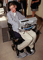"The famous British physicist Stephen Hawking arrives at the International Physicist congress ""String 99"" in Potsdam, pictured on 19th July 1999. Credit: DPA/MediaPunch ***FOR USA ONLY***"