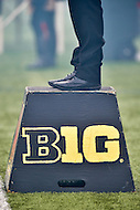 College Park, MD - OCT 1, 2016: Maryland Terrapins band directer stands on a B1G 10 box during game between Maryland and Purdue at Capital One Field at Maryland Stadium in College Park, MD. The Terps got the win 50-7 over visiting Purdue. (Photo by Phil Peters/Media Images International)