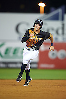 Wilmington Blue Rocks center fielder Brandon Downes (8) running the bases during a game against the Lynchburg Hillcats on June 3, 2016 at Judy Johnson Field at Daniel S. Frawley Stadium in Wilmington, Delaware.  Lynchburg defeated Wilmington 16-11 in ten innings.  (Mike Janes/Four Seam Images)