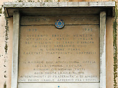 Venice, Italy - March 24, 2006 -- Memorial plaque in the Campo de Gheto Novo, the Jewish Ghetto, in Venice, Italy on March 24, 2006.  The plaque remembers the 289 Italian Jews from the Ghetto who were deported by the Nazis in 1939.  Of those deported, only 7 returned in 1945..Credit: Ron Sachs / CNP