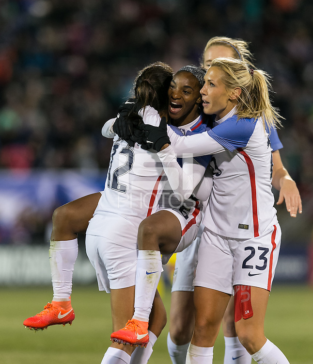 East Hartford, Connecticut - April 6, 2016: International friendly. U.S. Women's National Team (USWNT) (white) defeated Colombia (yellow), 7-0, at Pratt and Whitney Stadium on Rentschler Field.<br /> Goal celebration.