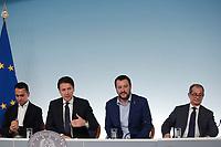 Luigi Di Maio, Giuseppe Conte, Matteo Salvini e Giovanni Tria<br /> Roma 15/10/2018. Consiglio dei Ministri sulla Manovra Economica DEF.<br /> Rome October 15th 2018. Minister's Cabinet about the Economic and Financial Document.<br /> Foto Samantha Zucchi Insidefoto