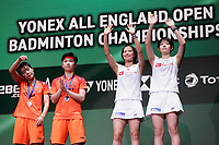 15th March 2020, Arena Birmingham, Birmingham, UK; Winners Japans Fukushima Yuki and Hirota Sayaka with 2nd placed Chinas Du Yue Li Yinhui 2nd L at the trophy presentation ceremony after the womens doubles final match at All England Open 2020 badminton tournament in Birmingham