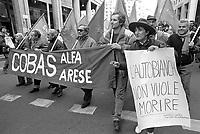 - Milan, workers of Alfa Romeo cars factory in demonstration against the dismissals for the plant closing (February 1992)....- Milano, gli operai della fabbrica di automobili Alfa Romeo in manifestazione contro i licenziamenti per la chiusura dello stabilimento (febbraio 1992)