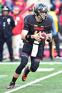 College Park, MD - NOV 26, 2016: Maryland Terrapins quarterback Perry Hills (11) rolls out of thepocket during game between Maryland and Rutgers at Capital One Field at Maryland Stadium in College Park, MD. Maryland defeated Rutgers 31-13. (Photo by Phil Peters/Media Images International)