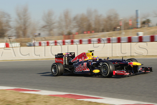 24.02.2012. Barcelona Spain.  Day testing.  Mark Webber in the Red Bull during the final day of the second test.