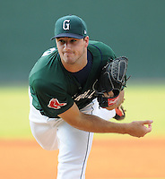 Starting pitcher Brandon Workman (32) of the Greenville Drive, Class A affiliate of the Boston Red Sox, in a game against the Rome Braves on August 16, 2011, at Fluor Field at the West End in Greenville, South Carolina. (Tom Priddy/Four Seam Images)