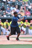 Second baseman Orlando Hudson swings at a pitch during a game against the soldiers from Fort Jackson as part of the All Star Game festivities at Spirit Communications Park on June 19, 2017 in Columbia, South Carolina. The soldiers from Fort Jackson defeated the Celebrities 1-0. (Tony Farlow/Four Seam Images)