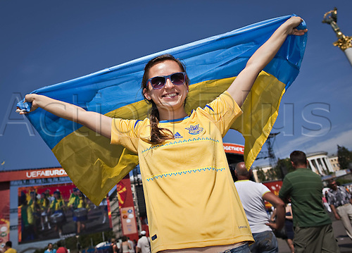 11.06.2012. Kiev Ukraine.  Fanzone Swedish supporters in Kiev for the European 2012 Championship Football Ukraine versus Sweden.
