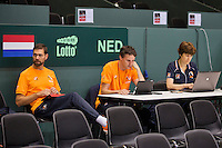 Switserland, Genève, September 16, 2015, Tennis,   Davis Cup, Switserland-Netherlands, Practise Dutch team, team doctor Babette Pluim, team manager Guus van Berkel and Fysio EdwinVisser( rtl)<br /> Photo: Tennisimages/Henk Koster