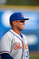 St. Lucie Mets third baseman Jhoan Urena (24) before a game against the Dunedin Blue Jays on April 19, 2017 at Florida Auto Exchange Stadium in Dunedin, Florida.  Dunedin defeated St. Lucie 9-1.  (Mike Janes/Four Seam Images)