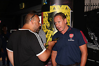 Arsenal legend Ray Parlour speaks to the press during the Arsenal FC 2019-20 Adidas Home Kit Launch at the Armoury Shop, Emirates Stadium on 1st July 2019