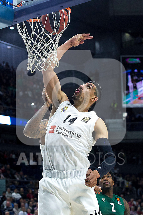 Real Madrid's Gustavo Ayon during Euroligue match between Real Madrid and Zalgiris Kaunas at Wizink Center in Madrid, Spain. April 4, 2019.  (ALTERPHOTOS/Alconada)