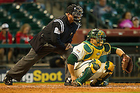 Baylor Bears catcher Josh Ludy #30 sets a target as home plate umpire Mike Fagan looks on during the game against the Utah Utes at Minute Maid Park on March 5, 2011 in Houston, Texas.  Photo by Brian Westerholt / Four Seam Images