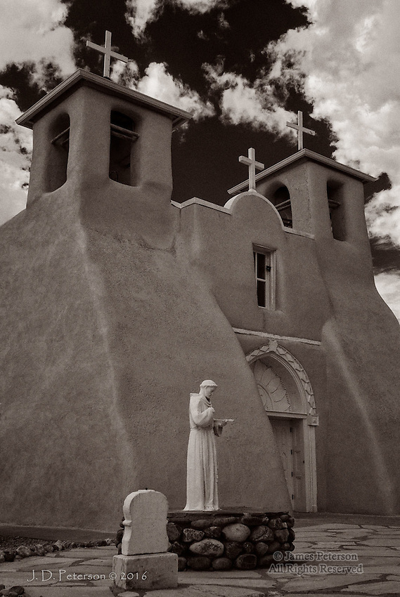 San Francisco De Asis Chapel, New Mexico (Infrared) ©2016 James D Peterson.  This historic structure, in Ranchos de Taos, makes a fine subject for an infrared image.