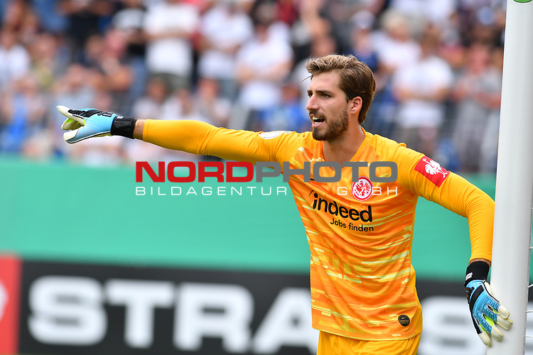 11.08.2019, Carl-Benz-Stadion, Mannheim, GER, DFB Pokal, 1. Runde, SV Waldhof Mannheim vs. Eintracht Frankfurt, <br /> <br /> DFL REGULATIONS PROHIBIT ANY USE OF PHOTOGRAPHS AS IMAGE SEQUENCES AND/OR QUASI-VIDEO.<br /> <br /> im Bild: Kevin Trapp (Eintracht Frankfurt #1)<br /> <br /> Foto © nordphoto / Fabisch