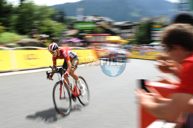Tont Gallopin (FRA) BMC Racing Team approaches the finish line during Stage 18 of the 2016 Tour de France a17km individual mountain time trial from Sallanches to Megeve, France. 21st July 2016.<br /> Picture: ASO/G.Demouveaux | Newsfile<br /> <br /> <br /> All photos usage must carry mandatory copyright credit (&copy; Newsfile | ASO/G.Demouveaux)