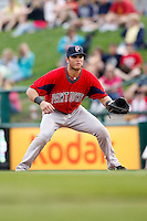July 22, 2009:  First Baseman Aaron Bates of the Pawtucket Red Sox during a game at Frontier Field in Rochester, NY.  Pawtucket is the Triple-A International League affiliate of the Boston Red Sox.  Photo By Mike Janes/Four Seam Images