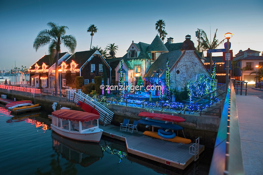 Alamitos Bay, Christmas, Lights, Treasure Island, Naples, Long Beach, CA; Reflecting in Canal; Close up; Boats; Houses; Lights; Sailboats; Yachts; holiday; holidays; travel; usa; vacation;  Architecture, Los Angeles CA; LA;  California;