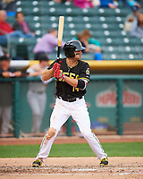 Ryan LaMarre (14) of the Salt Lake Bees at bat against the Fresno Grizzlies in Pacific Coast League action at Smith's Ballpark on April 17, 2017 in Salt Lake City, Utah. The Bees defeated the Grizzlies 6-2. (Stephen Smith/Four Seam Images)